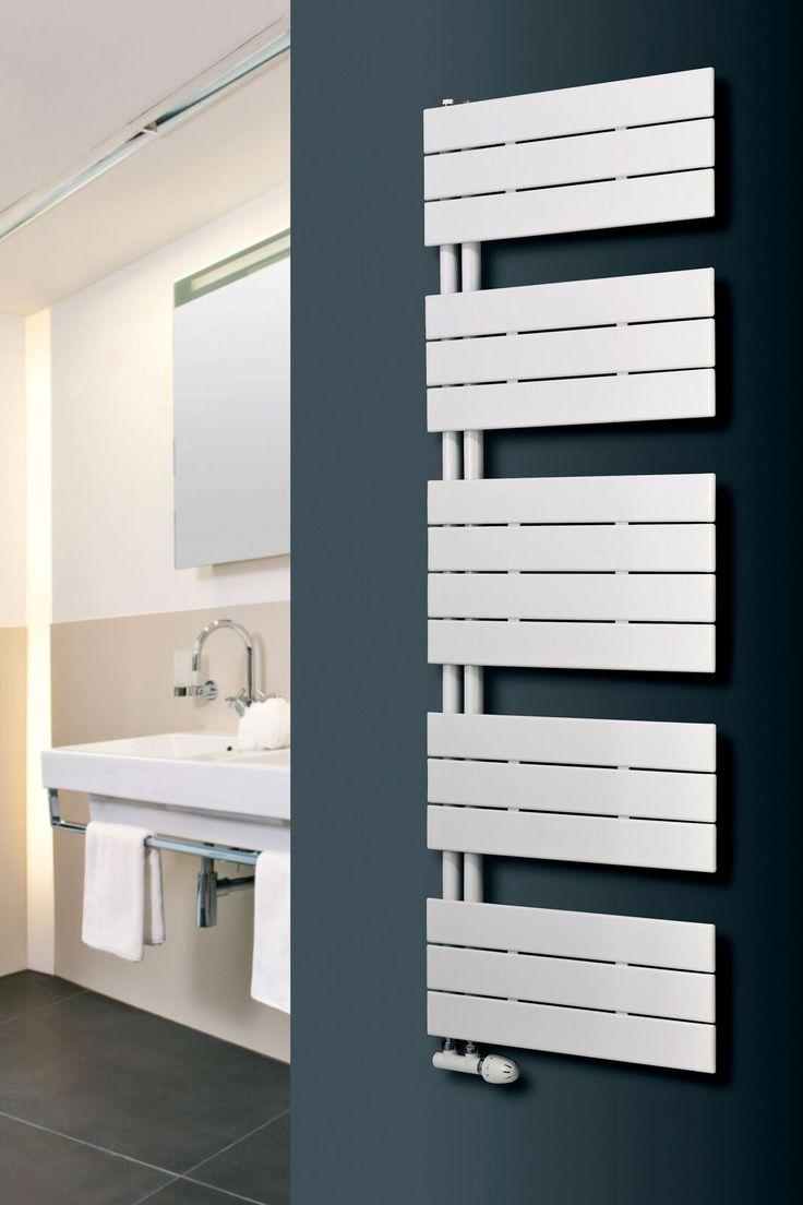 Designer heated towel rails for bathrooms - Eucotherm Mars Trium White Designer Heated Towel Rails