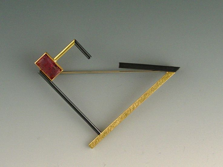 BROOCH - OXIDIZED STERLING SILVER, 18KT, TOURMALINE