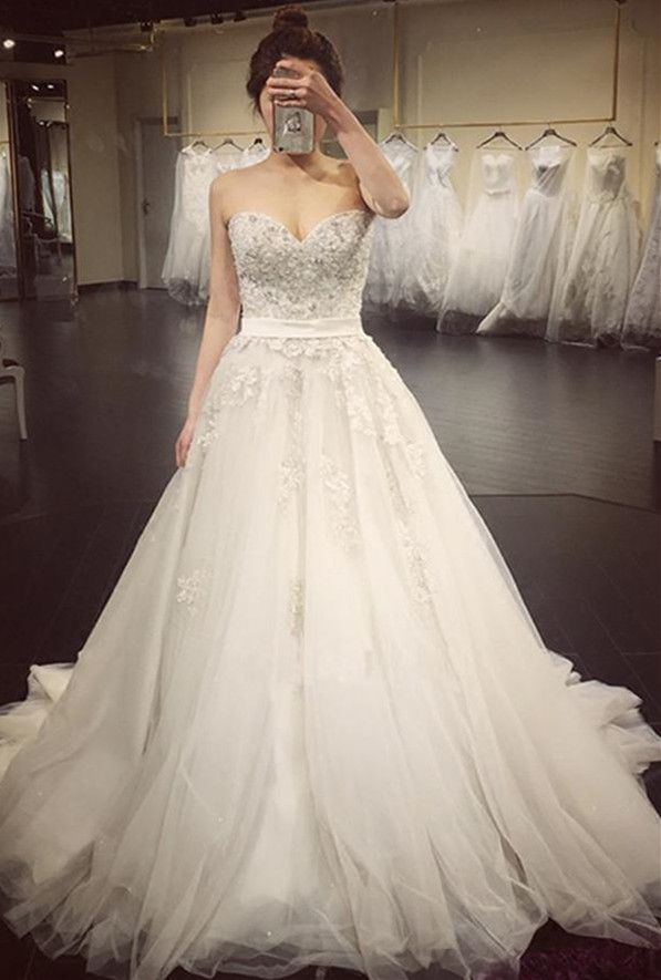 2018 Sexy Sweetheart Neck Ball Gown Wedding