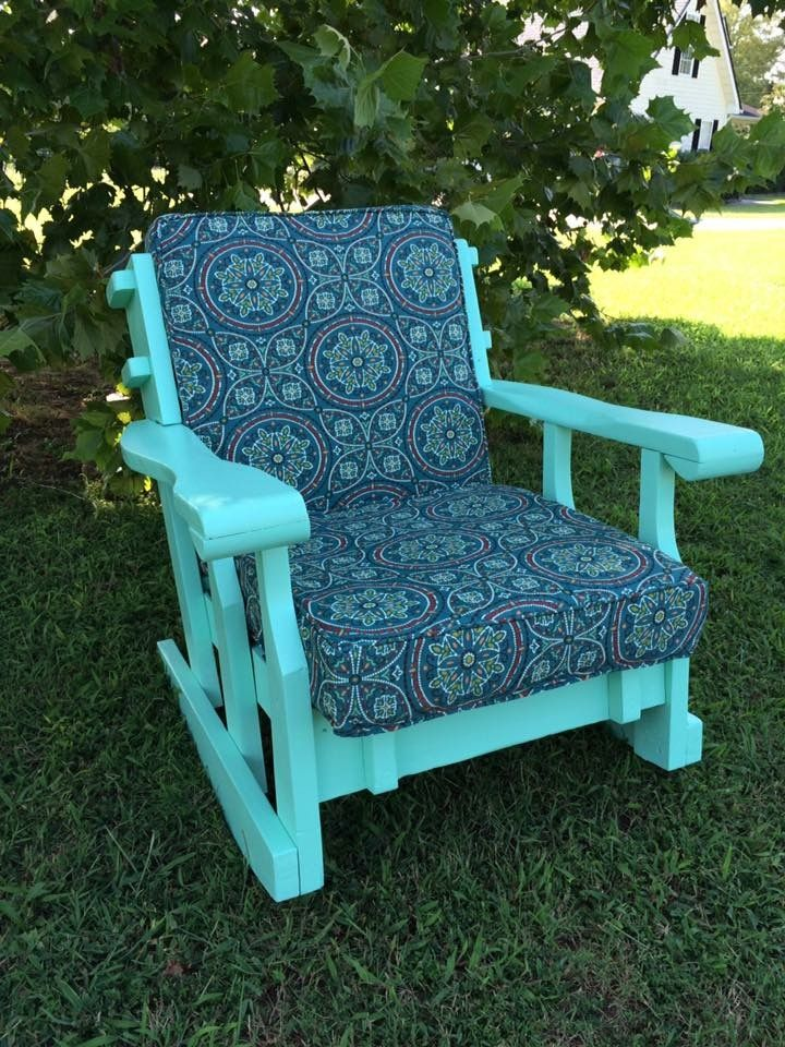 SOLD ! I Received Many Compliments On This Piece ! Comfortable Rocking  Chair Bright Color,