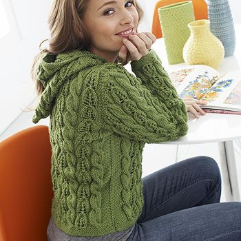 Download Free Pattern Details -  Cables and Lace Hoodie (kn) - Patons Yarn