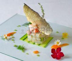 molto elegante piatto di servizio pesce di alta cucina Archivio Fotografico