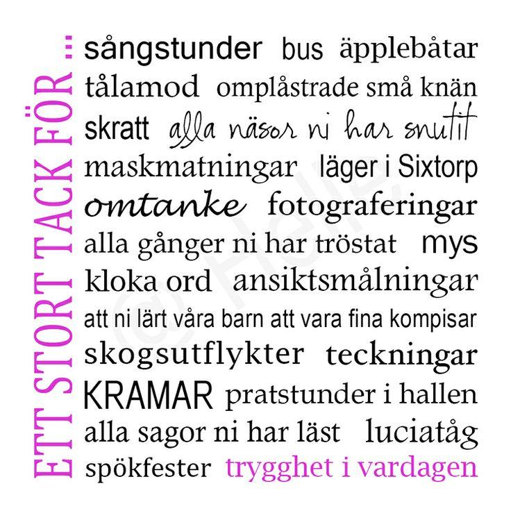 Tacktavla / Tavla / Förskolan / Pedagoger / Förskolepedagoger / lärare / Present - made by Helle