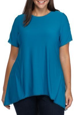 Grace Elements Women's Plus Size Short Sleeve Shark-Bite With Mesh Sleeve Top - Teal - 3X