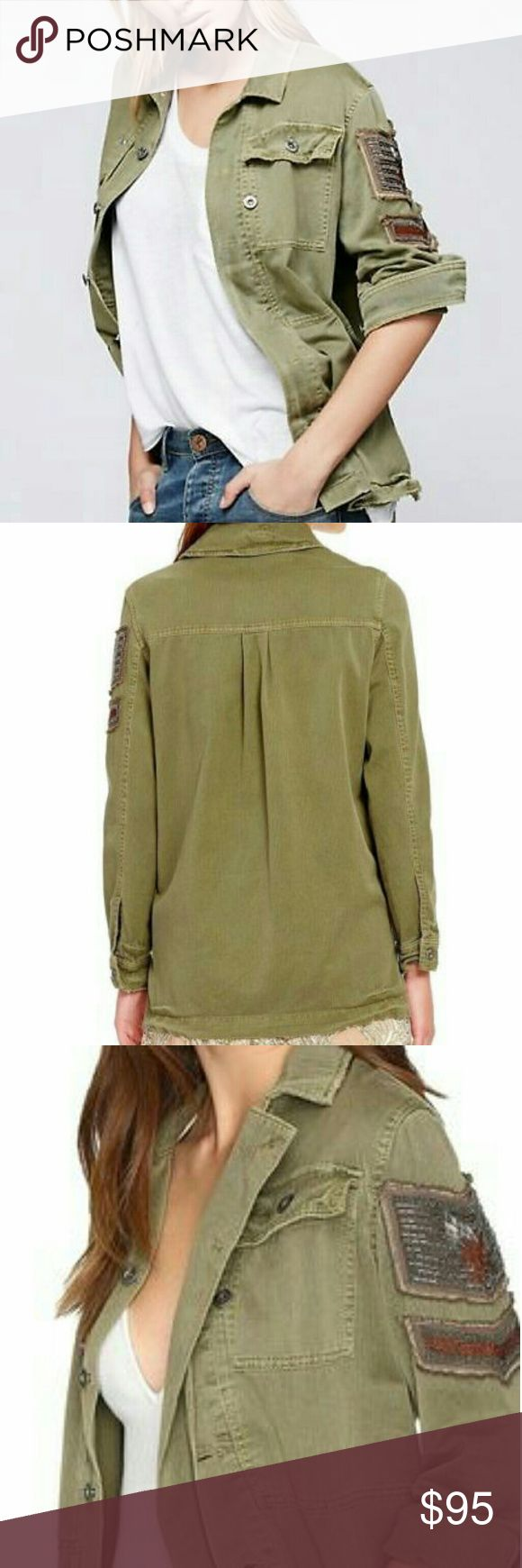 Free People Oversized Military Jacket Brand new with tags Free People olive green embellished Military style shirt jacket size small.  Fits a s/m/l Free People Jackets & Coats