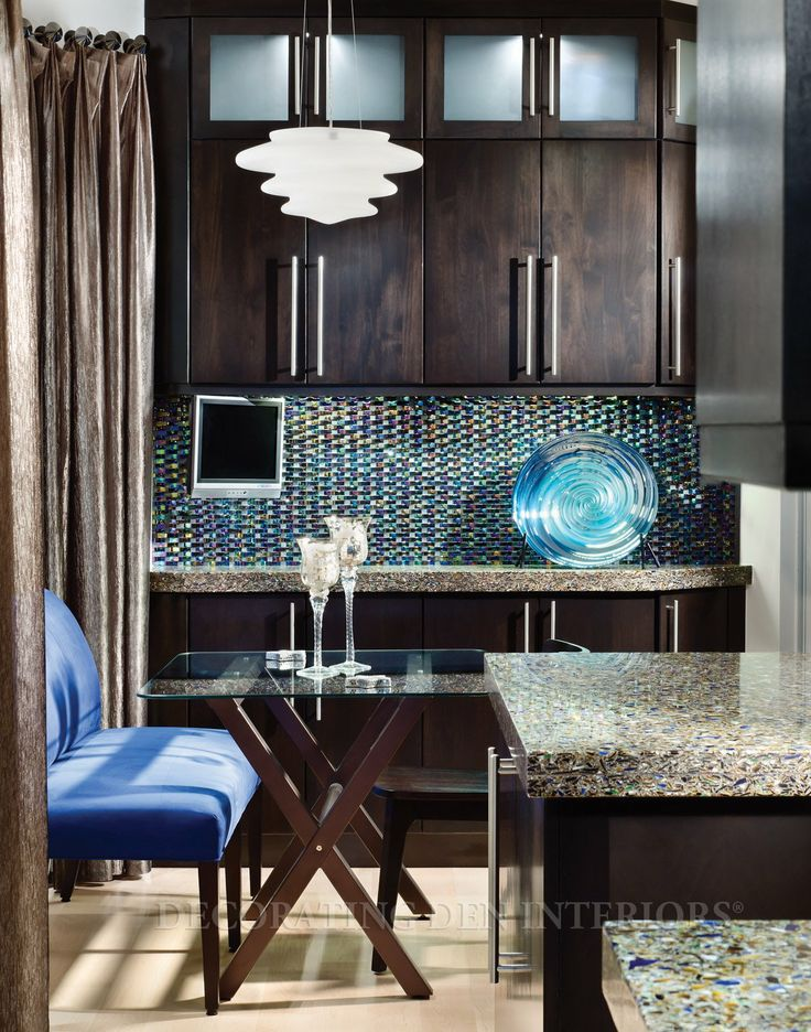 Room designed by Judy Underwood: Glasses Tile, Brown Cabinets, Contemporary Kitchens, Dark Cabinets, Dark Brown, Interiors Design, Kitchens Contemporary, Blue Kitchens, Cabinets Design