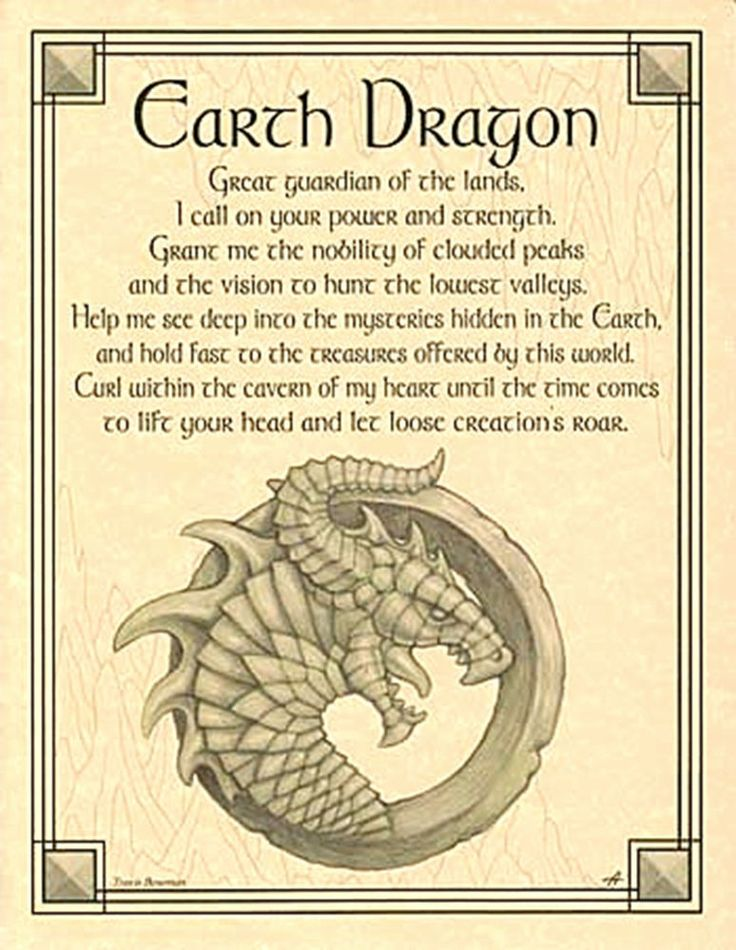 EARTH DRAGON BOS PAGE Wicca Book of Shadows Elemental Guardian Parchment Poster