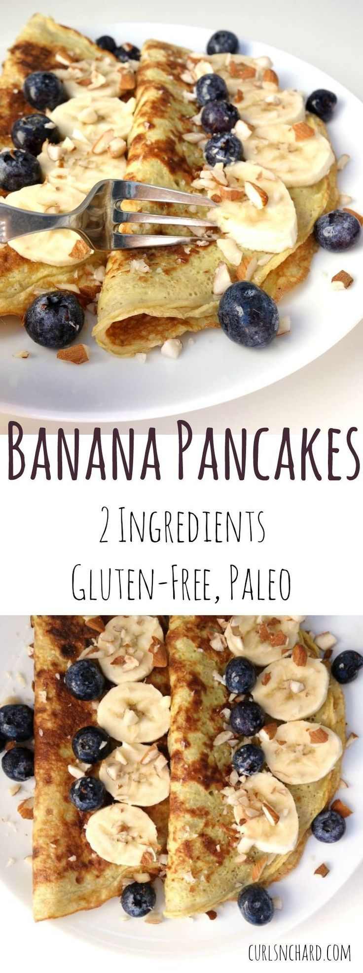 Banana Pancakes   Just 2 ingredients, delicious, gluten-free and super fast breakfast!   curlsnchard.com