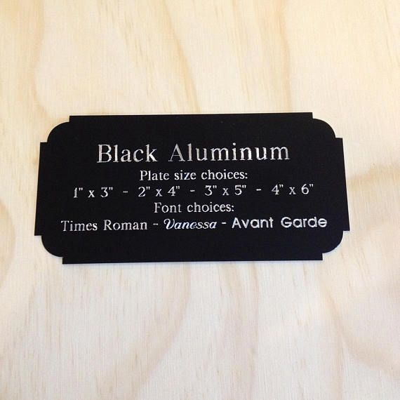 Black Aluminum Plate with Scalloped Corners. Plaque price includes engraving. Double sided adhesive for easy mounting. Screw holes and screws provided upon request. PLEASE PROVIDE YOUR IMAGE & ENGRAVING INFORMATION AT TIME OF PURCHASE. *NECESSARY INFORMATION NEEDED* - NAMES OR