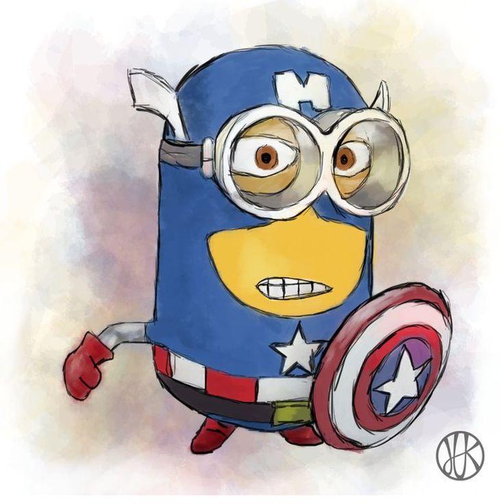 Drawing minion #Capitain America #minion #minions #draw #drawing #yellow #banana