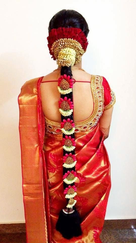 South Indian Wedding Hairstyles Long Braid With Jewelery And Flowers Elegant