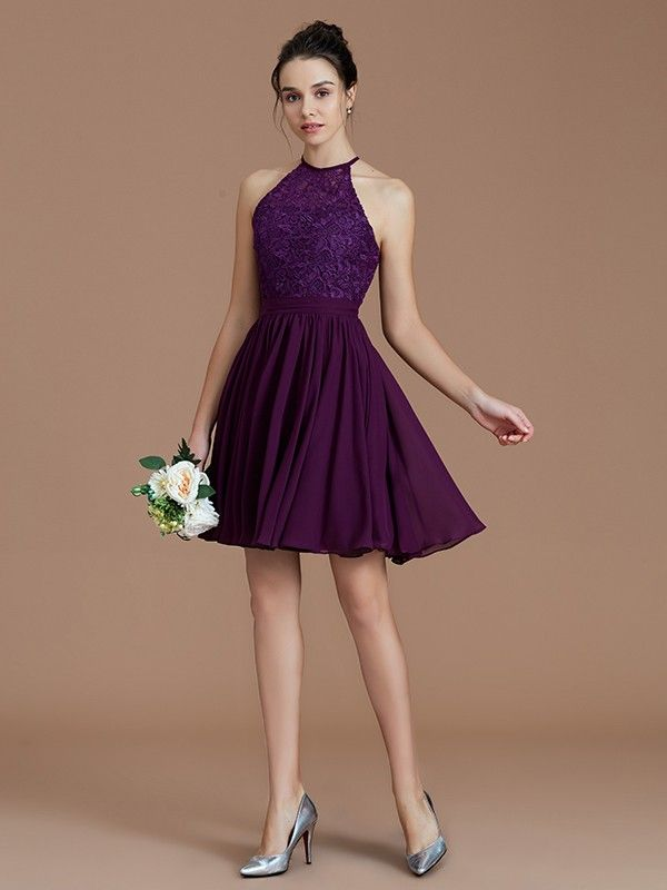 3dba14dc93 A-Line Princess Halter Sleeveless Lace Short Mini Chiffon Bridesmaid Dresses