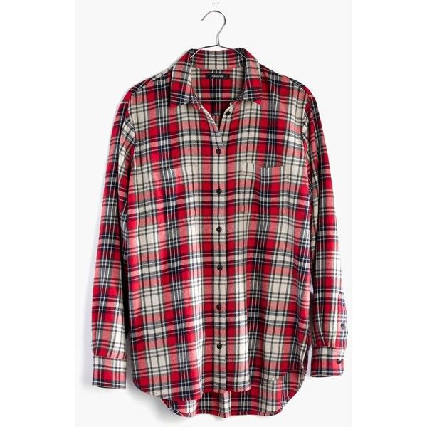MADEWELL Flannel Oversized Ex-Boyfriend Shirt in Carl Plaid ($80) ❤ liked on Polyvore featuring tops, kilt red, oversized button up shirt, boyfriend flannel shirt, flannel button up shirts, oversized plaid shirt and flannel button-down shirts