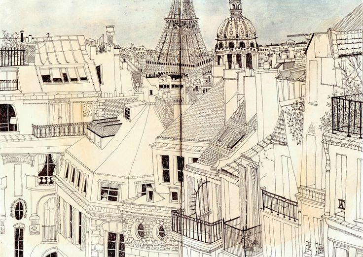 Paris rooftops sketch (Samara Hardy)