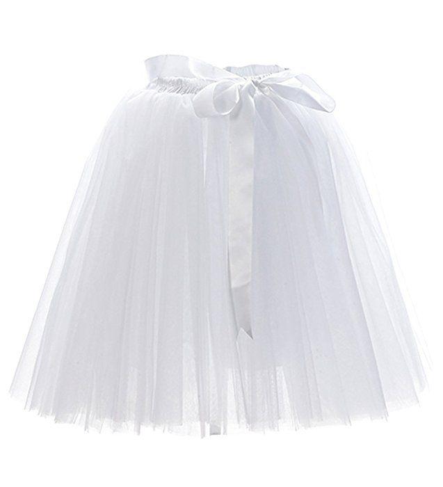 Facent Damen 7 Schichten 50cm Knielang Tüllrock Tutu Tüll Kleid Rock Reifrock Abendrock Weiß: Amazon.de: Bekleidung