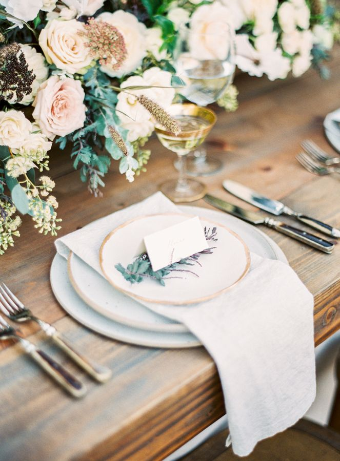 Rustic + romantic wedding table decor: http://www.stylemepretty.com/2016/01/15/ojai-winter-wedding-inspiration-pear-brandy-champagne-cocktail/ | Photography: Sally Pinera - http://www.sallypinera.com/