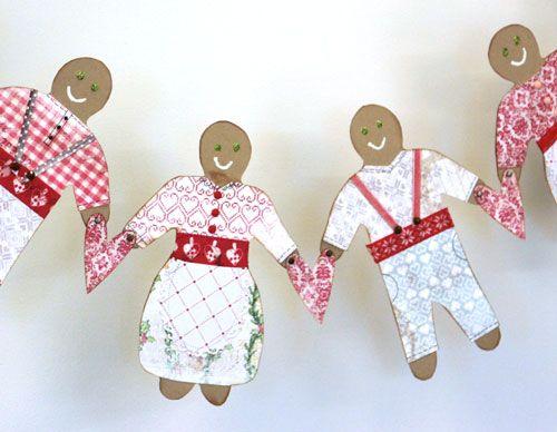 Paper Gingerbread girlander christmas DT for poppydesign