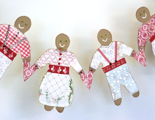 Paper Gingerbread girlander christmas DT for poppydesign