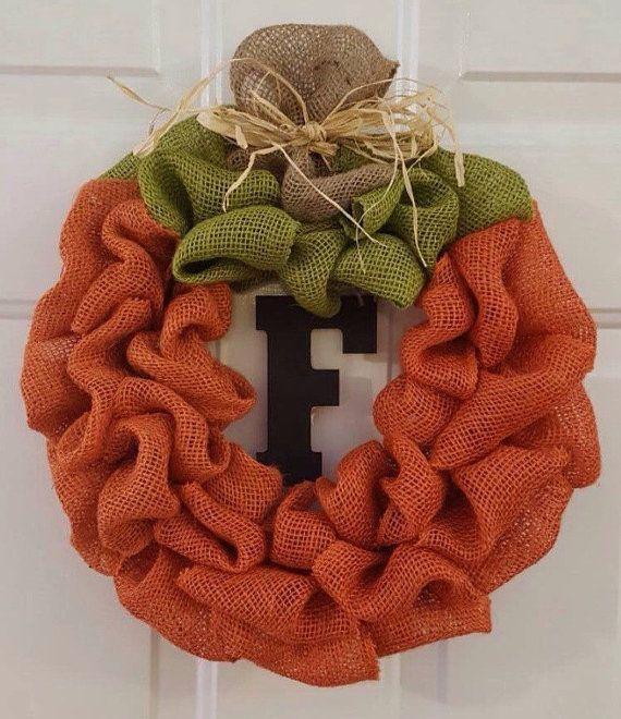 Check out this item in my Etsy shop https://www.etsy.com/listing/248990076/pumpkin-burlap-wreath-pumpkin-wreath