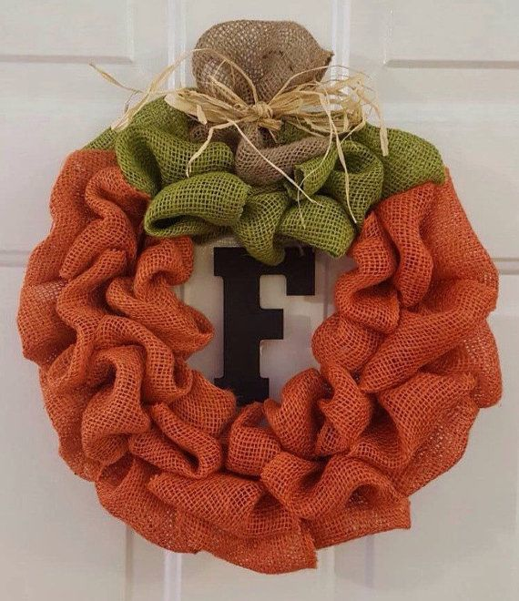 Check out this item in my Etsy shop https://www.etsy.com/listing/248990076/pumpkin-burlap-wreath-pumpkin-wreath