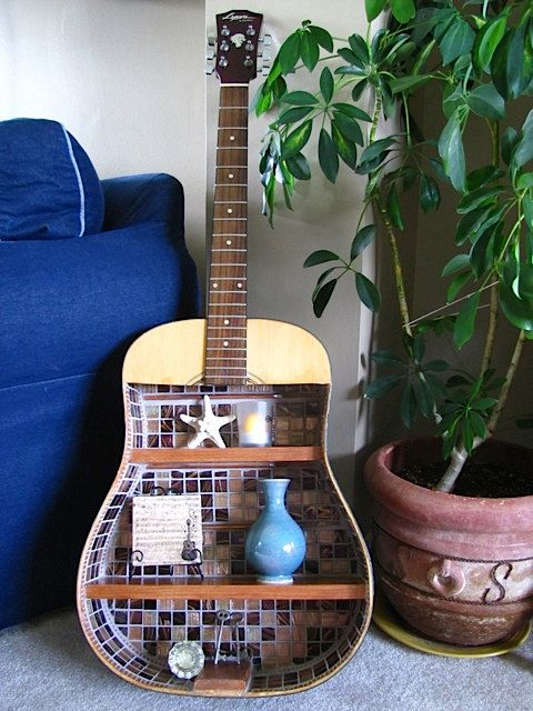 Mosaic guitar shelf--stunning!  For sale at: http://www.etsy.com/shop/MusicAsArtBySarah