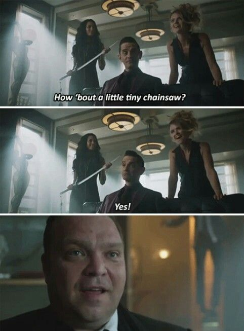 """How 'bout a little tiny chainsaw?"" - Galavan, Tabitha, Barbara and Butch #Gotham"