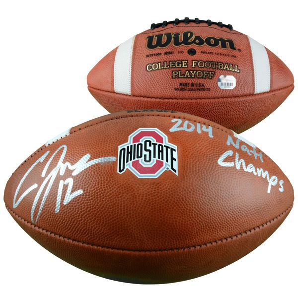 """Cardale Jones Ohio State Buckeyes Fanatics Authentic Autographed Wilson College Football Playoff Football with """"14 NATL CHAMPS"""" Inscription - $279.99"""