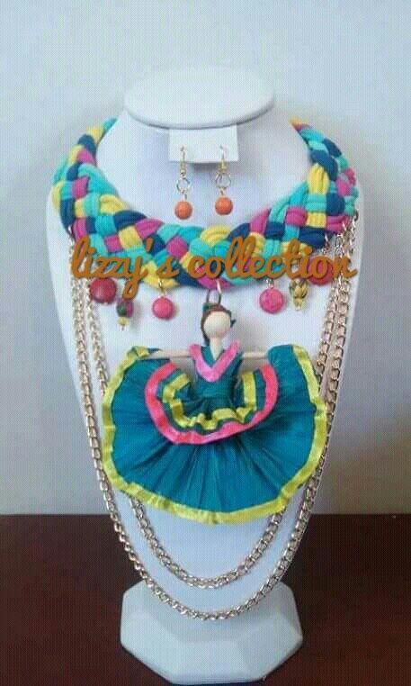 e449187b5861 collar trenzado en tela con figuras de pasta