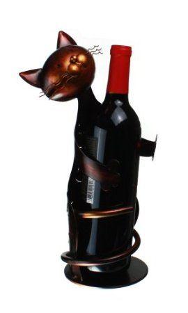 "Amazon.com: Metal Cat - Decorative Wine Bottle Holder - Caddy - Display - 13"" Tall"" X 4.5"": Home & Kitchen"