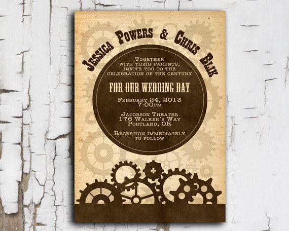Steampunk Invitation   Printable DIY For Wedding Or Event. $30.00, Via Etsy.