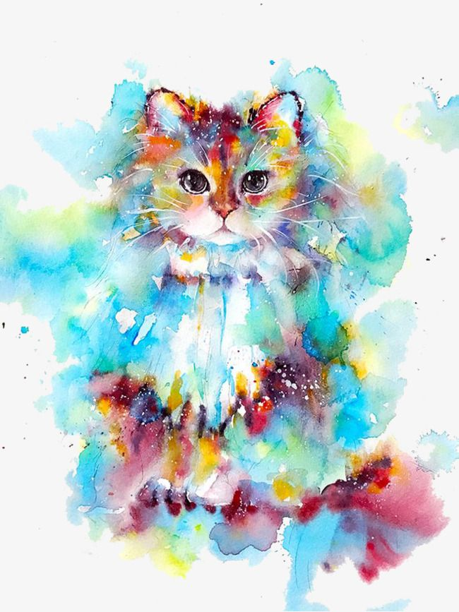 Watercolor Cat In 2020 Watercolor Cat Animal Paintings Cat Art