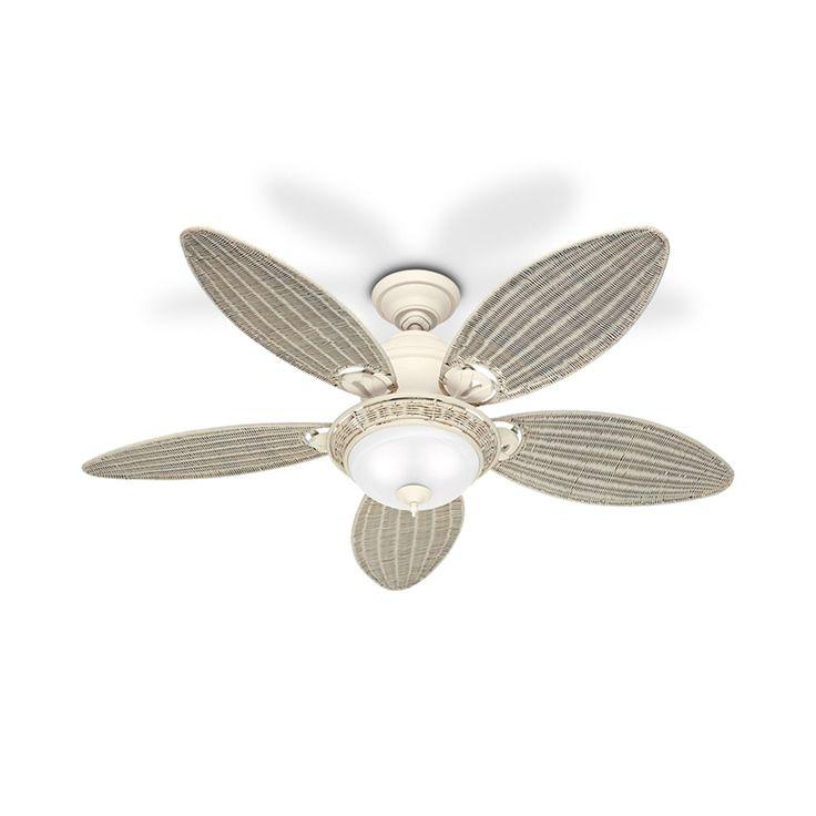 Ventilador caribbean com 5 pás  de vime com iluminação 220v