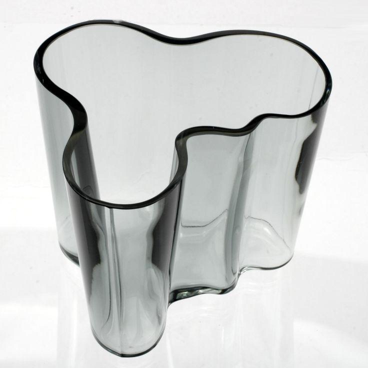Iittala Aalto Grey Glass Vase Scandinavian Art Glass Finland Signed