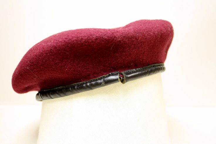 """British World War II Airborne Red Beret with cap badge. Maker's name faintly stenciled inside appears to read """"UL Co. 7 1943"""" Presumably size 7, but it seems a bit smaller, probably having shrunk a bit in use. 