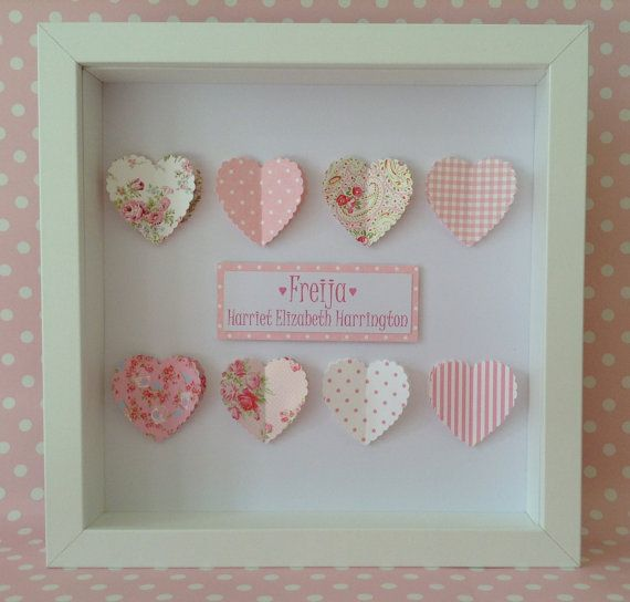Personalised Framed Heart Picture Keepsake : 3D hearts or butterflies. Unique handmade gift for little girl or precious friend