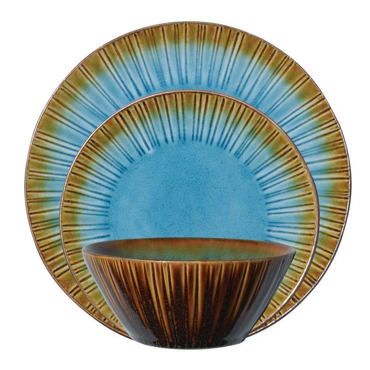Stoneware Dinnerware Sets | Gibson Cressa 12-Piece Reactive Stoneware Dinnerware Set, Turquoise