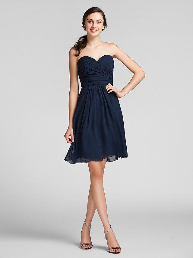 Lanting Knee-length Chiffon Bridesmaid Dress - Dark Navy Plus Sizes / Petite Sheath/Column Sweetheart - USD $69.99