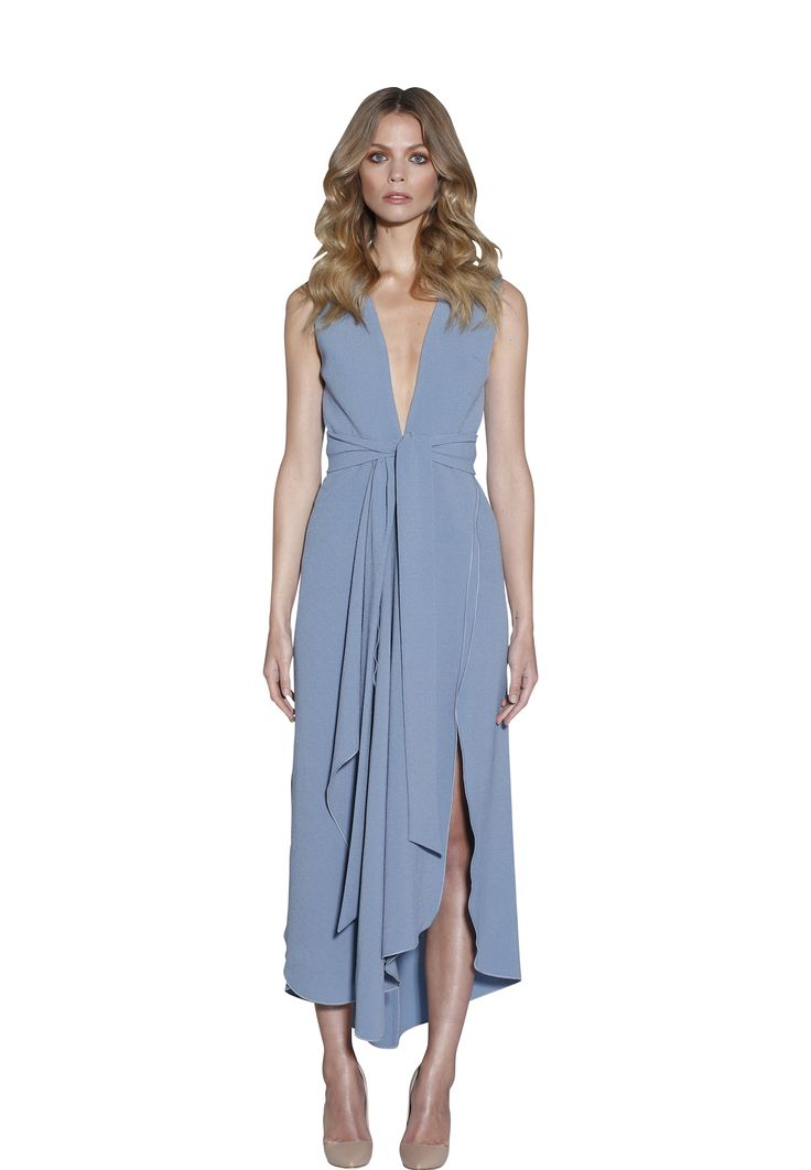 POWDER BLUE V-PLUNGE DRESS | #W #BYJOHNNY #LIMITEDEDITION #AUSTRALIANFASHION