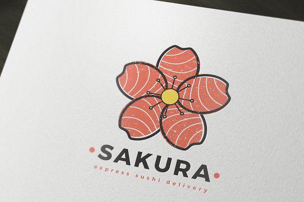 Sakura Sushi Delivery Logo Template - Logos