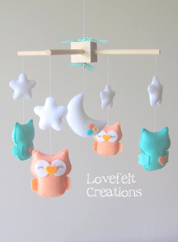 READY TO SHIP  Baby Mobile  Owl mobile  Mint coral door LoveFeltXoXo, $99.00