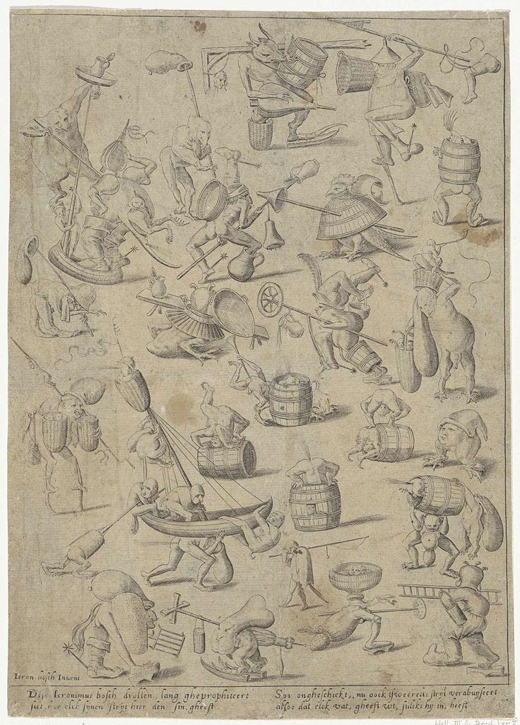 Anonymous | Verschillende fantasiefiguren, Anonymous, 1570 - 1620 | Verschillende fantasiefiguren met veelal uiterlijke kenmerken van een mens. Sommige wezens hebben ook dierlijke kenmerken. Alle figuren zijn met één of meerdere voorwerpen afgebeeld, zoals een ton, een hengel en een boot. Onder de voorstelling in de marge een vierregelige tekst in het Nederlands.