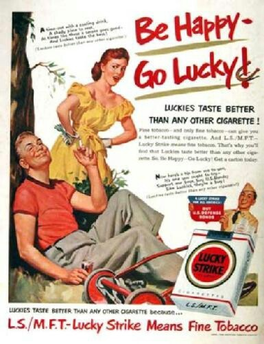 Vintage Lucky Strike Cigarette Ad - be happy - go lucky