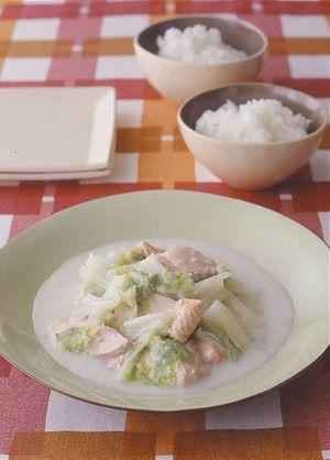 白菜と鮭の中華クリーム煮 | 武蔵裕子さんのレシピ【オレンジページnet ...