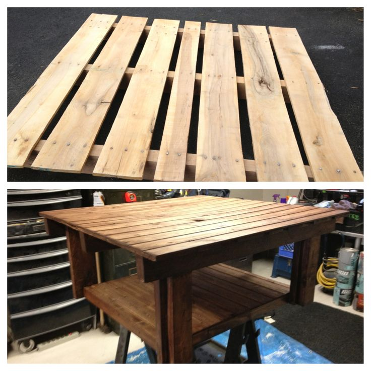 My version of a pallet table - with thin pine on top & bottom