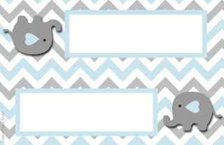 Elefante Bebé en Celeste y Gris: Invitaciones y Etiquetas para Candy Bar para Imprimir Gratis.