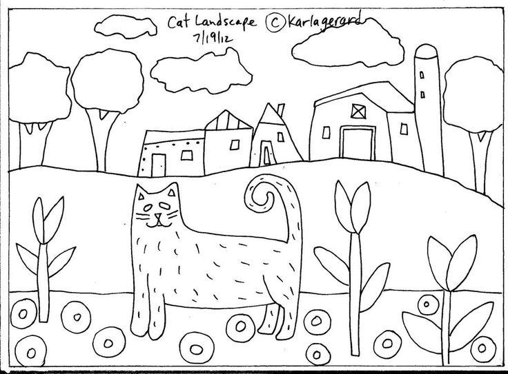 RUG HOOKING PAPER PATTERN Cat Landscape FOLK ART ABSTRACT PRIMITIVE Karla G in Crafts   eBay