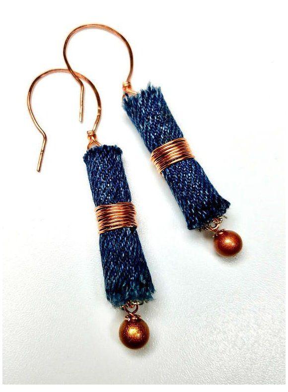 handmade denim jewelry stainless steel jewelry organic linen jewelry Jeans color jewelry set for jeans women