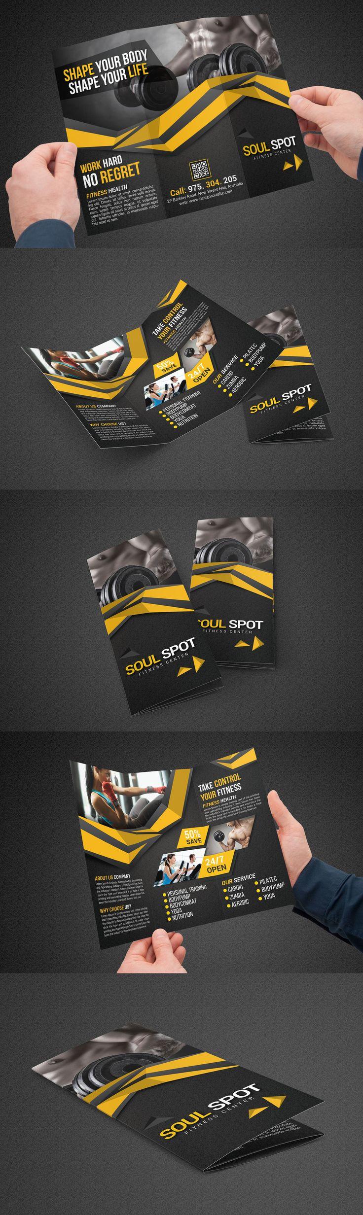 Fitness Tri-Fold Brochure Template PSD