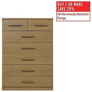Buy HOME Normandy 5+2 Drawer Chest - Oak Effect at Argos.co.uk, visit Argos.co.uk to shop online for Chest of drawers