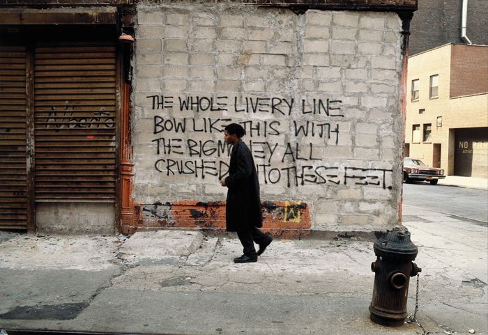 Jean-Michel Basquiat on the set of Edo Bertoglio's film Downtown 81, 1980–81.EDO BERTOGLIO/©NEW YORK BEAT FILMS, LLC./COURTESY MARIPOL/BY PERMISSION OF THE ESTATE OF JEAN-MICHEL BASQUIAT, ALL RIGHTS RESERVED